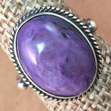 CHAROITE,Russia/925 STERLING ring MADE IN POLAND 16x19mm SIZE 5.75/6.5/7/8