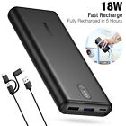 20000mAh Dual USB Backup External Battery Power Bank Pack Charger for Cell Phone
