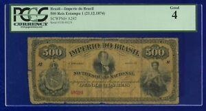 Brazil 500 REIS 1874 A242 GOOD LETTER -B- D PEDRO II PSCG ES-3