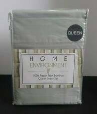 HOME ENVIRONMENT 100% RAYON FROM BAMBOO QUEEN SHEET SET SAGE MSRP $375 NEW
