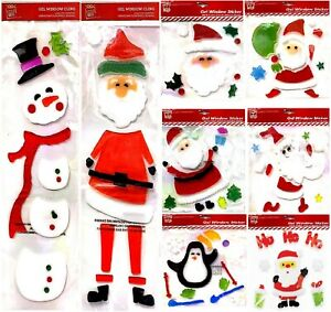 Snowman Santa Glass CHRISTMAS Gel Window Stickers Xmas Party Door Decorations