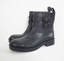 Authentic JIL SANDER NAVY Black Leather MOTORCYCLE BIKER Boots Shoes 38 US-7.5