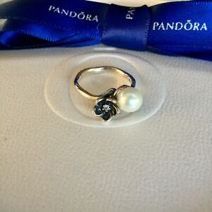Authentic Pandora Silver Mystic Floral Pearl CZ Flower Ring Size 52 #190924