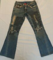 True Religion Womens Joey Patch Size 29 Distressed Flare Jeans