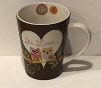 Valentina Owls It's Love Coffee Mug Tea Cup 14oz Adorable Cute Owls EUC