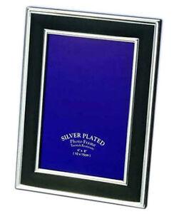 "Black & Silver Photo Picture Frame 4x6"", 5x7"", 6x8"" & 8x10"" Thin Silver Edge"