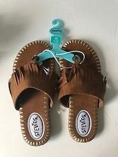 STEVIES Steve Madden Sandals Fringe Suede Thong Shoes Girls Size 1 2 Brown NEW