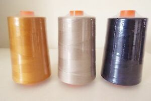 3 x  5000 yds Spun Polyester strong sewing thread  75's Navy Gold Beige