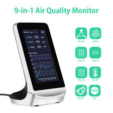9in1 Air Quality Monitor 3000mAh Rechargeable Formaldehyde PM2.5 PM1.0 Tester