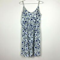 Capture Womes Blue/Green Floral Sleeveless Dress Size 14