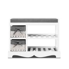 Artiss Shoe Cabinet Bench Rack Wooden Storage Organiser Shelf Stool 2 Drawers