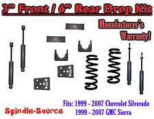 "1999 - 2007 Chevrolet Silverado / GMC Sierra 1500 V8 3"" / 6"" Lower Drop + SHOCKS"
