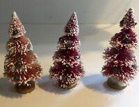 """3 Vintage Red Bottle Brush Christmas Trees - 5 1/2"""" High Orig. $.15"""