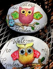 Garden Stone Decor Owls Yard Art Planter Welcome Bless This