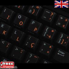 Tradicional portuguesa Transparente pegatinas teclado con Naranja Letras
