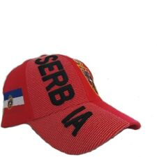 SERBIA Red Country Flag  EMBOSSED HAT CAP . New