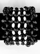 2 Of Lot New Stylish Black & White Wooden Beads Stretch Elastic Wide Bracelets