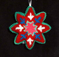 Handmade Primitive Felt Snowflake Christmas Ornament With Crewel Embroidery