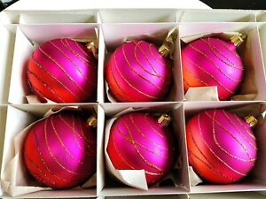 box of 6 Glass Christmas baubles made in Europe top quality stocked in Australia