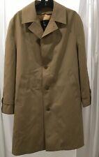 MISTY HARBOR MEN'S KHAKI Polyester RAIN COAT 40 R with Wool Blend Zip Liner