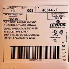 Leviton 40544-T Midsize Telephone Wall Jack, Light Almond Color Box/10