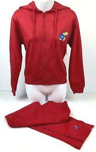 Kansas Jayhawks Red Women's 2-Pc Zip Hoodie & Pants Sweat Suit Size S NWT