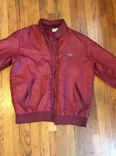 Vintage LACOSTE Red Full Zip Windbreaker Jacket With Hood Size Large