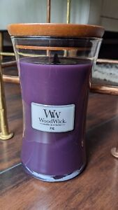 Woodwick Pluswick Purple Crackling Candle – Fig Scented – Large Jar, 609.5g