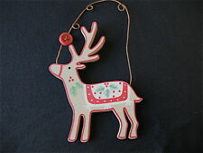 GISELA GRAHAM CHRISTMAS WOODEN SCANDINAVIAN REINDEER DECORATION