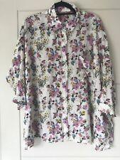 TU Ivory Flower / Floral Bouquet Print Oversized Shirt Sz 16