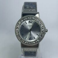 Studio Time Womens STD4148T Silver Stainless Steel Cuff Crystal Dial Watch