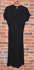 1950's Little Black Vintage Dress Rhine Stone Rk Original S/Xs
