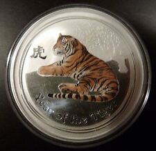 """2010 SILVER LUNAR 2oz  COIN """"YEAR OF THE TIGER"""" COLORED COLOURED COLOUR"""
