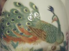 Chinese Porcelain Vase With Peacock And Flowers signed