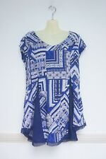 BNWT NEW Crossroads 10 Blue White Floral Boho Dress Style Top Tunic