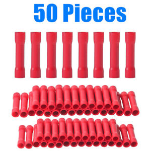 New 50Pcs Red Butt Wire Connectors Crimp Terminals Electrical 22-16 AWG