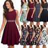 Women's Elegant Floral Lace Embroidery A-Line Swing Casual Party Cocktail Dress