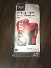 Everlast Elite Pro Style Leather Training Boxing Gloves Size 16 Ounces Red Black