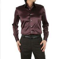 Brown Men's Wedding Shirts Long Sleeve Silk-Satin Slim Prom Groom Men's Shirts
