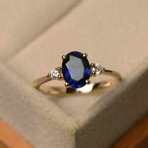 925 Sterling silver Gold plated 4.25CT blue sapphire engagement Ring Size 8.5
