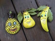 Vintage Kitch Smiling Ceramic Yellow Pear Banana Pineapple Kitchen Wall Art