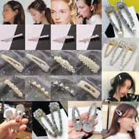 Women Big Gems Pearl Hair Clips Barrette Stick Hairpin Fashion Hair Accessories