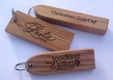Solid engraved Oak wooden personalised hotel key fobs tags
