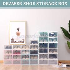 6 Pack Shoe Box Stackable Storage Case Durable Plastic Foldable Shoes