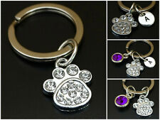 Dog Paw Keychain Initial Letter Silver Memorial Charm Personalized Mom Gift