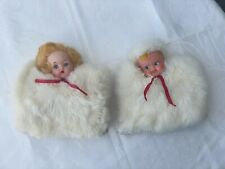 Two (2) Vintage Genuine 1950s Fur Hand Warmer Muffs
