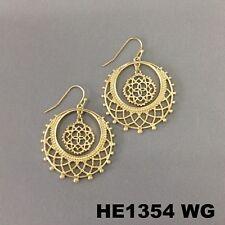 Bohemian Style Filigree Cut Out Round Dangle Hoop Gold Finish Hook Earrings