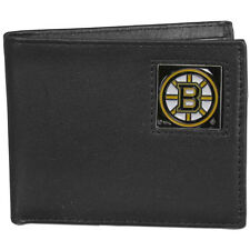 boston bruins logo nhl ice hockey leather bi-fold wallet usa made