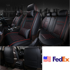 Usa Deluxe Black Full Car Seat Cover Set 5Seats Cushion Red Stitch +Neck Pillows (Fits: Chrysler Concorde)