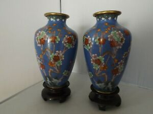 Pair Vintage Chinese Cloisonne Vases on Stands